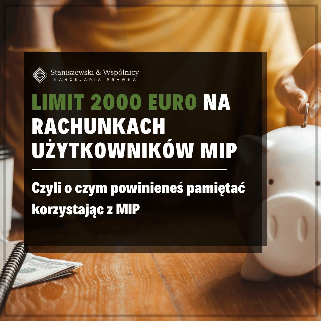 Limit 2000 euro na rachunkach płatniczych użytkowników Małej Instytucji Płatniczej
