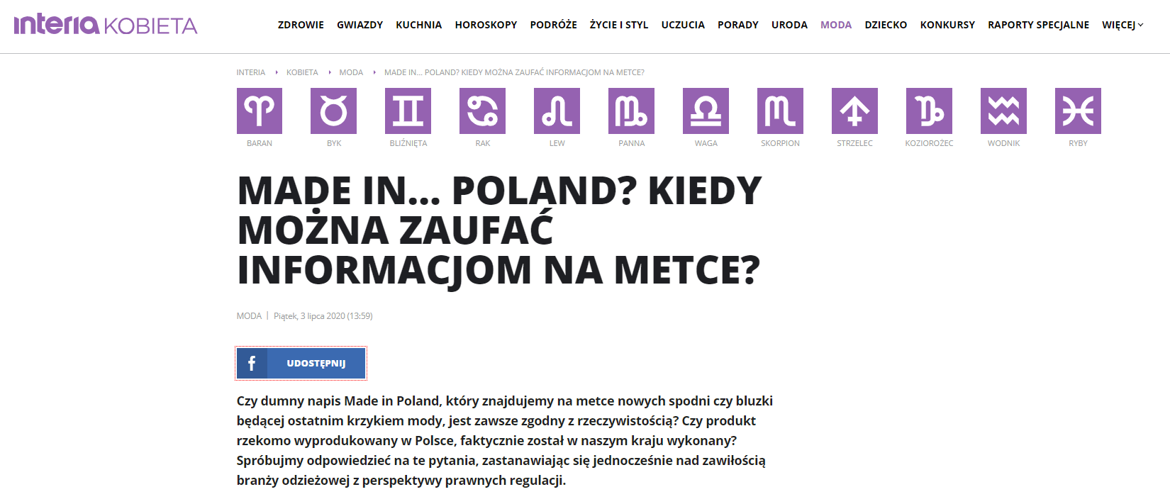 Made in… Poland? Kiedy można zaufać informacjom na metce?