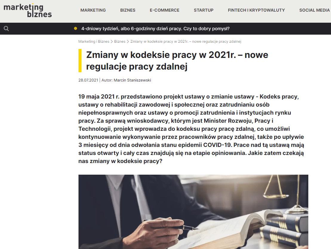 Zmiany w kodeksie pracy w 2021r. – nowe regulacje pracy zdalnej