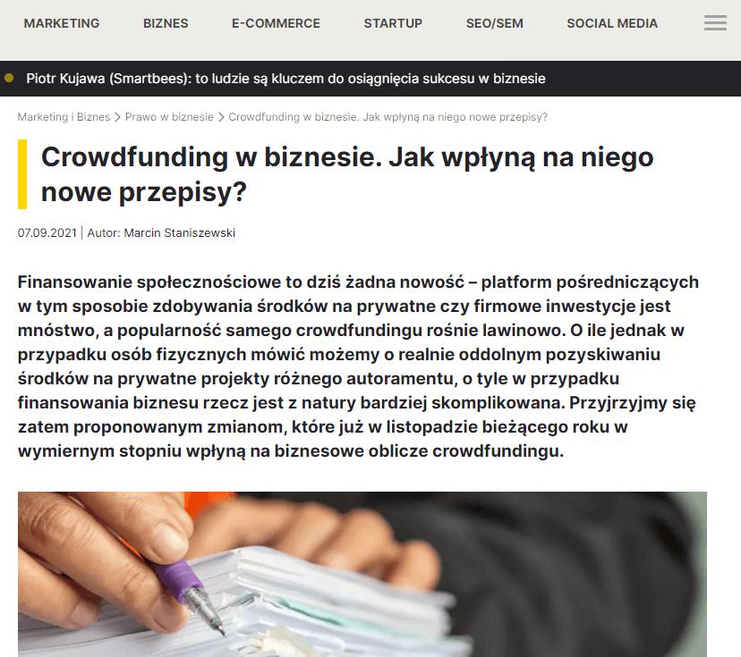 Crowdfunding w biznesie. Jak wpłyną na niego nowe przepisy?